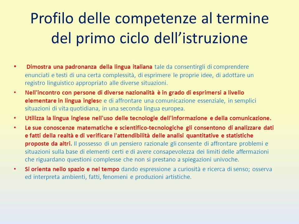 Profilo delle competenze al termine del primo ciclo dell'istruzione Dimostra una padronanza della lingua italiana tale da consentirgli di comprendere