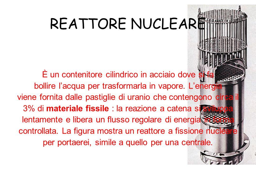 REATTORE NUCLEARE È un contenitore cilindrico in acciaio dove si fa bollire l'acqua per trasformarla in vapore.