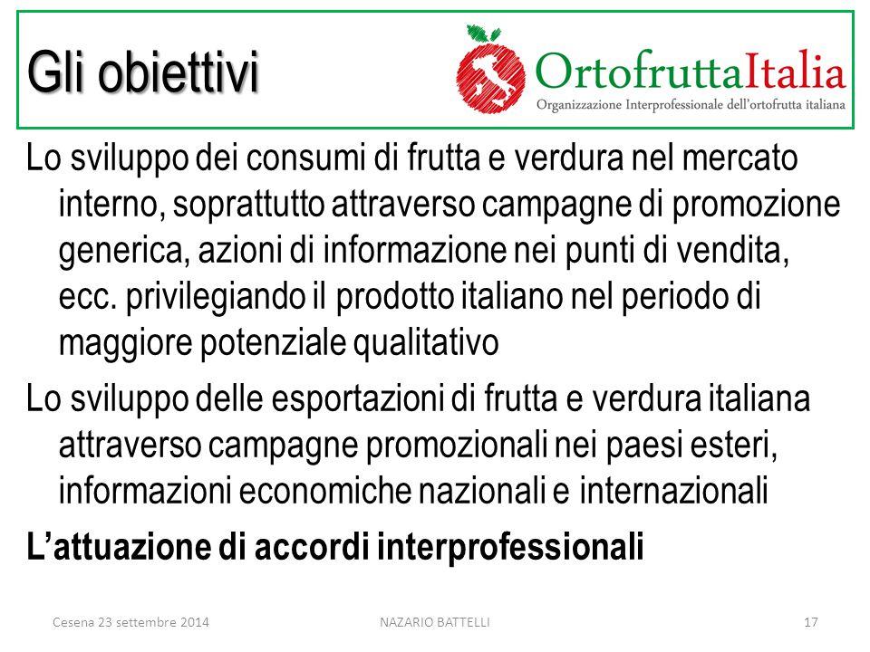 Gli obiettivi Lo sviluppo dei consumi di frutta e verdura nel mercato interno, soprattutto attraverso campagne di promozione generica, azioni di informazione nei punti di vendita, ecc.