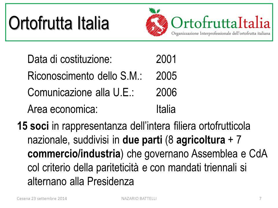 Ortofrutta Italia Data di costituzione: 2001 Riconoscimento dello S.M.:2005 Comunicazione alla U.E.:2006 Area economica: Italia 15 soci in rappresentanza dell'intera filiera ortofrutticola nazionale, suddivisi in due parti (8 agricoltura + 7 commercio/industria ) che governano Assemblea e CdA col criterio della pariteticità e con mandati triennali si alternano alla Presidenza Cesena 23 settembre 20147NAZARIO BATTELLI