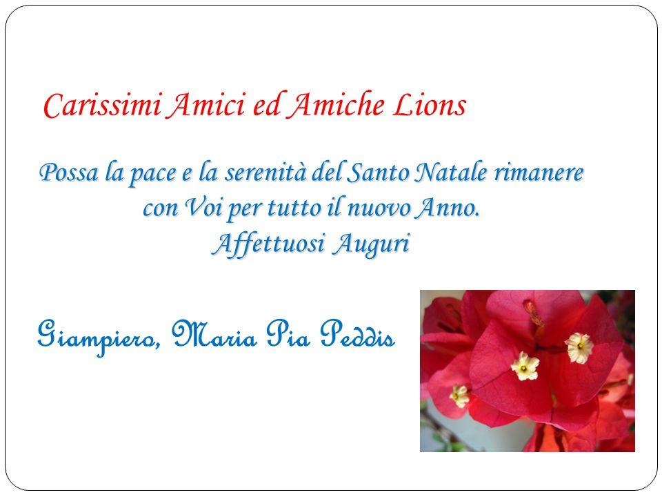 Carissimi Amici ed Amiche Lions Possa la pace e la serenità del Santo Natale rimanere con Voi per tutto il nuovo Anno. Affettuosi Auguri Giampiero, Ma