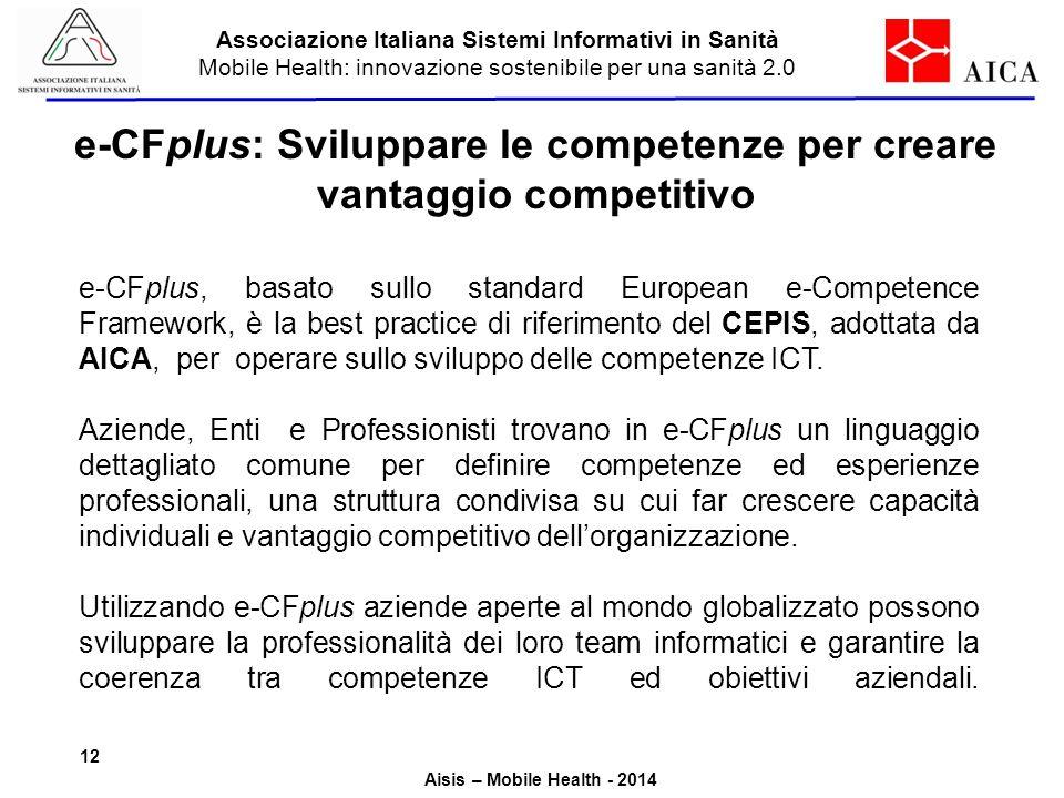 Associazione Italiana Sistemi Informativi in Sanità Mobile Health: innovazione sostenibile per una sanità 2.0 Aisis – Mobile Health - 2014 e-CFplus: S