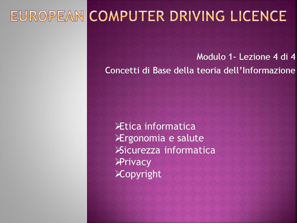 Modulo 1- Lezione 4 di 4 Concetti di Base della teoria dell'Informazione  Etica informatica  Ergonomia e salute  Sicurezza informatica  Privacy 