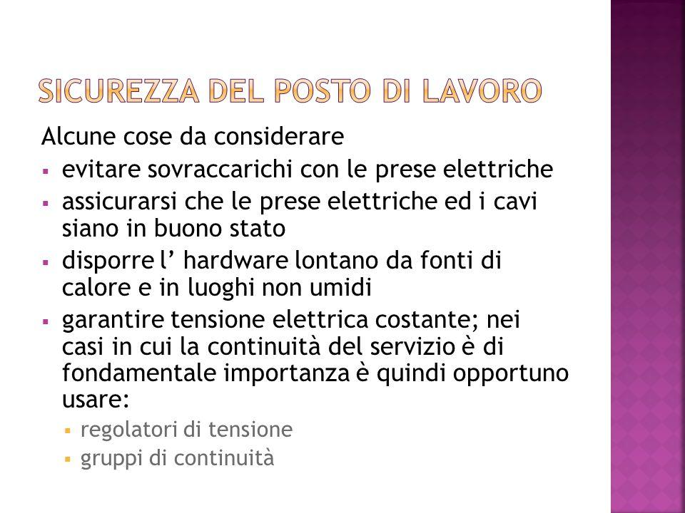 Alcune cose da considerare  evitare sovraccarichi con le prese elettriche  assicurarsi che le prese elettriche ed i cavi siano in buono stato  disp