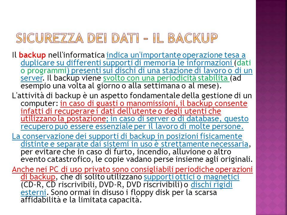 Il backup nell'informatica indica un'importante operazione tesa a duplicare su differenti supporti di memoria le informazioni (dati o programmi) prese