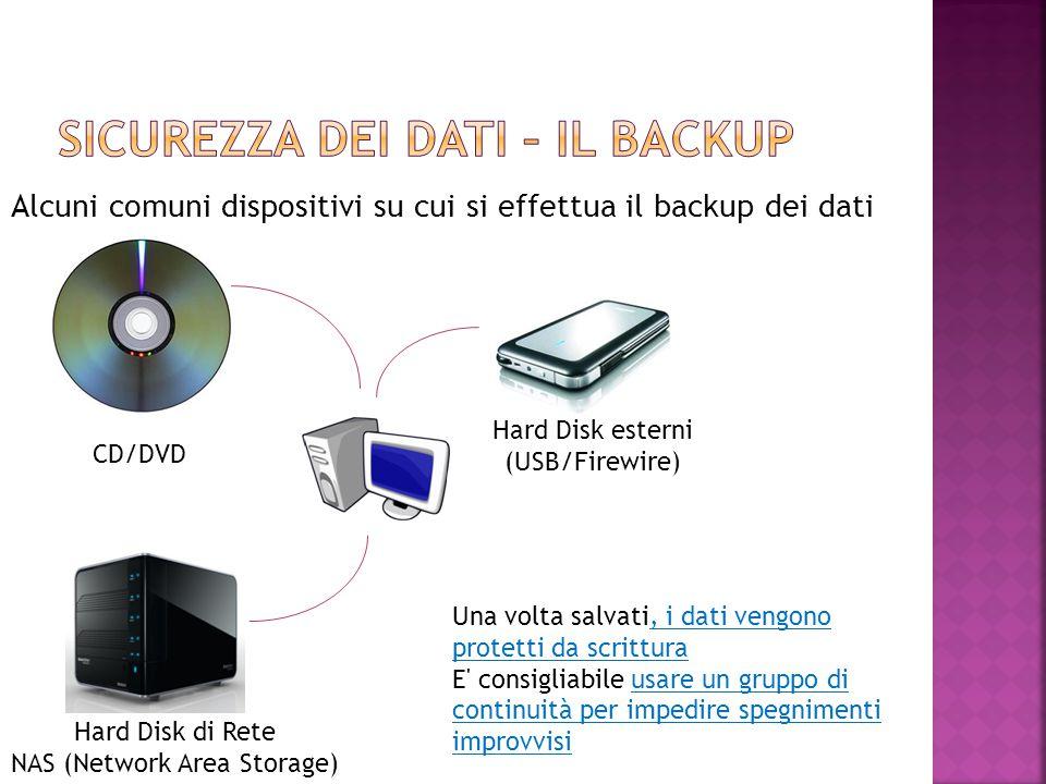 Alcuni comuni dispositivi su cui si effettua il backup dei dati CD/DVD Hard Disk di Rete NAS (Network Area Storage) Hard Disk esterni (USB/Firewire) U