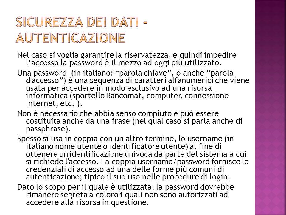 """Nel caso si voglia garantire la riservatezza, e quindi impedire l'accesso la password è il mezzo ad oggi più utilizzato. Una password (in italiano: """"p"""