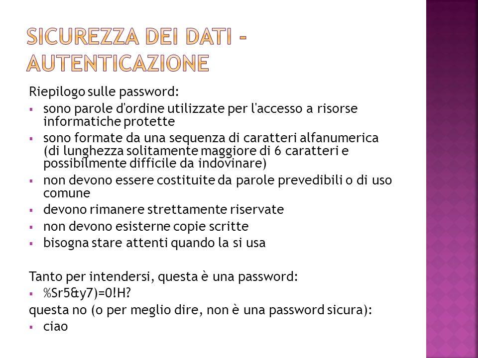 Riepilogo sulle password:  sono parole d'ordine utilizzate per l'accesso a risorse informatiche protette  sono formate da una sequenza di caratteri