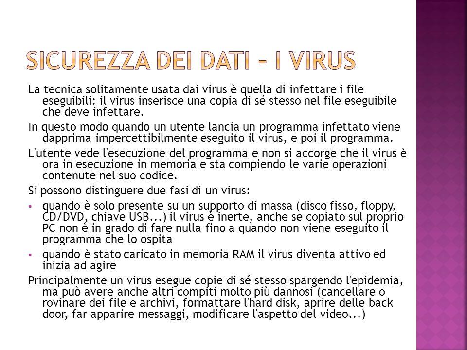 La tecnica solitamente usata dai virus è quella di infettare i file eseguibili: il virus inserisce una copia di sé stesso nel file eseguibile che deve