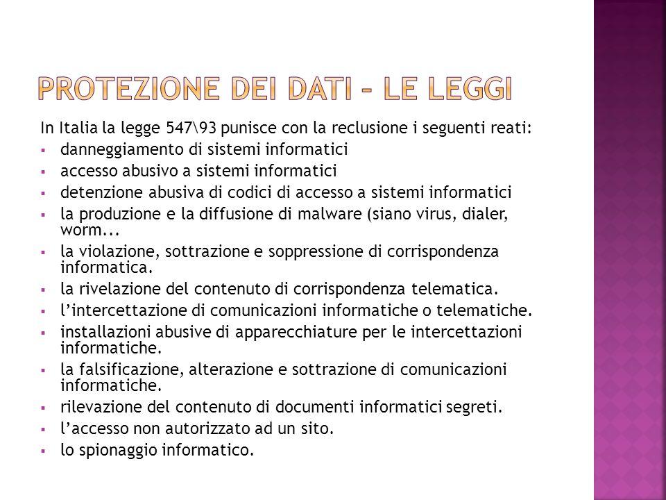 In Italia la legge 547\93 punisce con la reclusione i seguenti reati:  danneggiamento di sistemi informatici  accesso abusivo a sistemi informatici