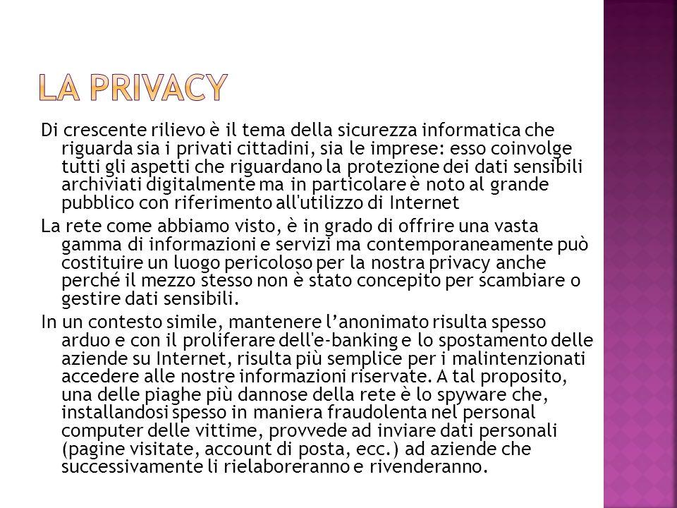 Di crescente rilievo è il tema della sicurezza informatica che riguarda sia i privati cittadini, sia le imprese: esso coinvolge tutti gli aspetti che
