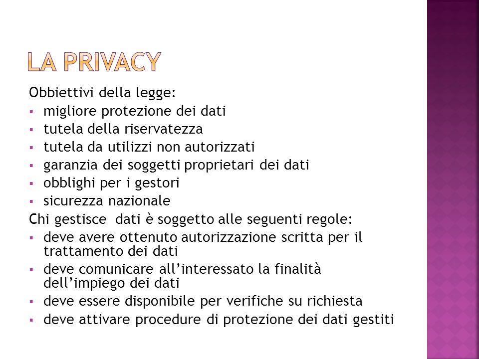 Obbiettivi della legge:  migliore protezione dei dati  tutela della riservatezza  tutela da utilizzi non autorizzati  garanzia dei soggetti propri