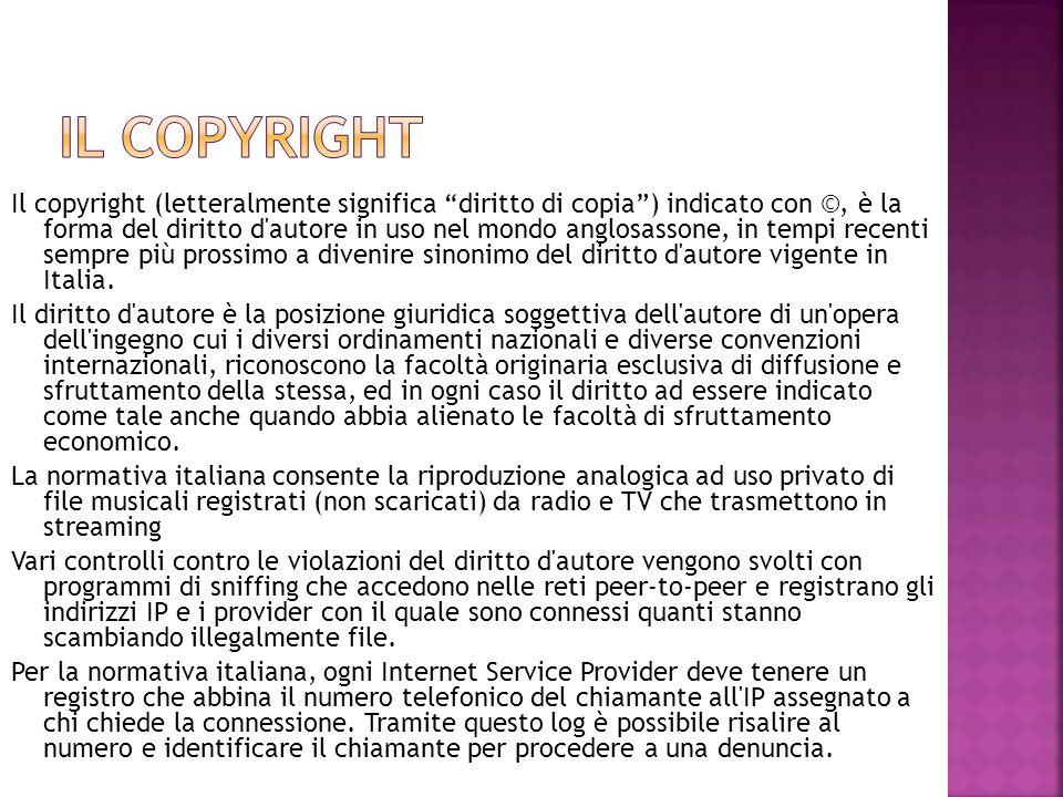 """Il copyright (letteralmente significa """"diritto di copia"""") indicato con ©, è la forma del diritto d'autore in uso nel mondo anglosassone, in tempi rece"""