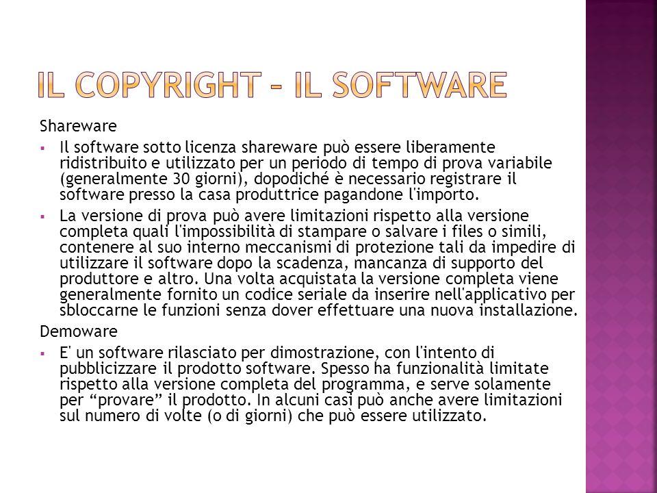 Shareware  Il software sotto licenza shareware può essere liberamente ridistribuito e utilizzato per un periodo di tempo di prova variabile (generalm