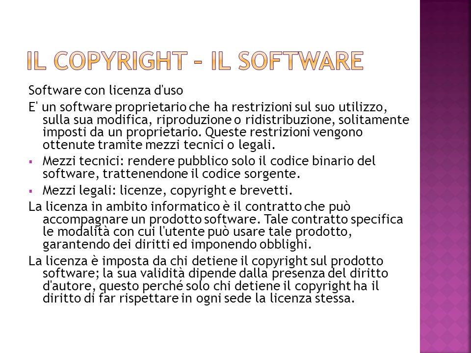 Software con licenza d'uso E' un software proprietario che ha restrizioni sul suo utilizzo, sulla sua modifica, riproduzione o ridistribuzione, solita