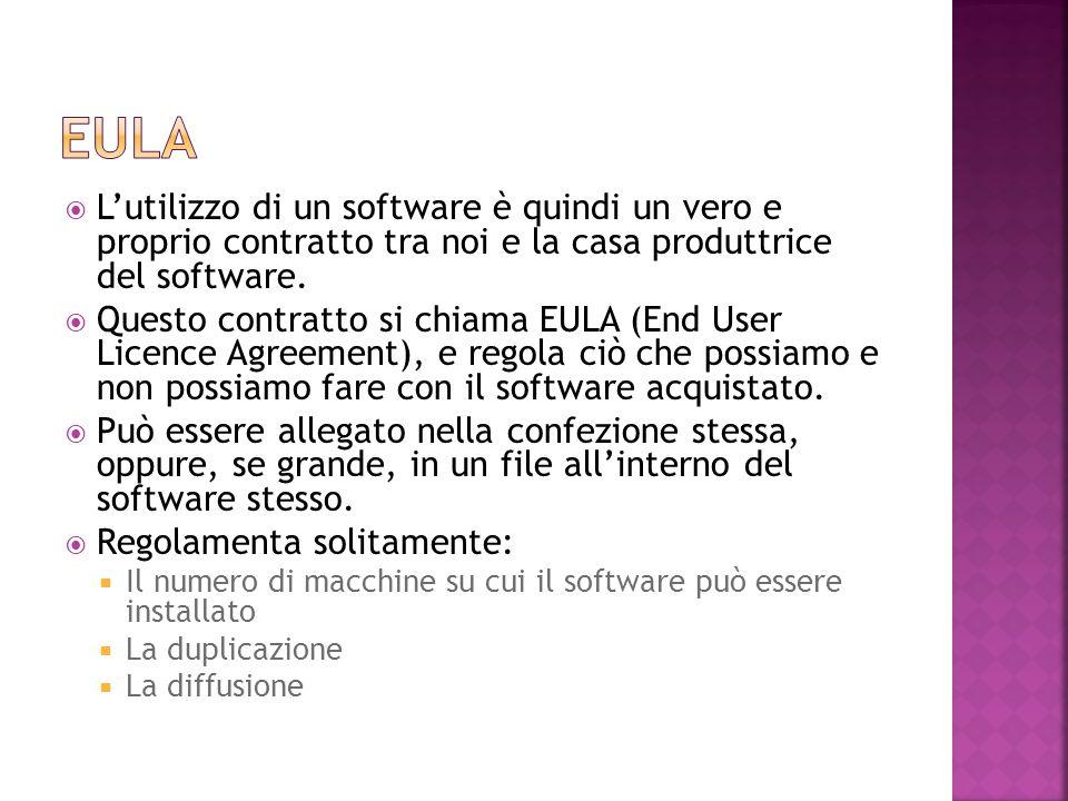  L'utilizzo di un software è quindi un vero e proprio contratto tra noi e la casa produttrice del software.  Questo contratto si chiama EULA (End Us