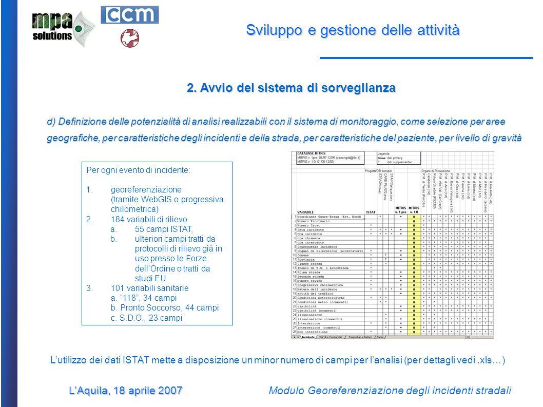 L'Aquila, 18 aprile 2007 Modulo Georeferenziazione degli incidenti stradali Sviluppo e gestione delle attività 2.