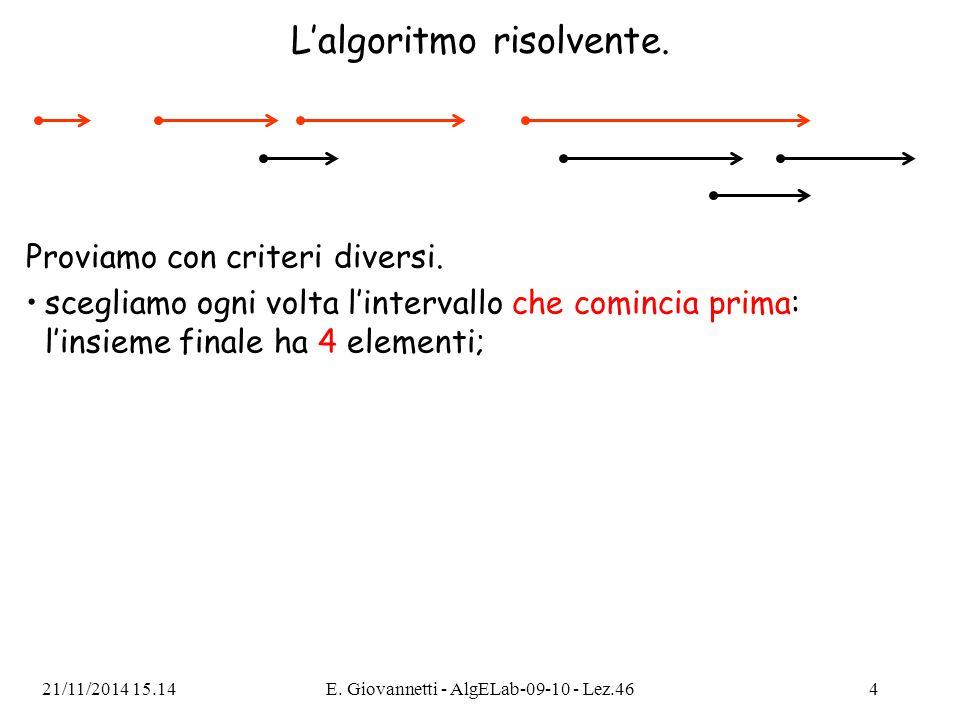 Il codice C++ per il problema Nimbus using namespace std; struct Intervallo { int inizio, fine; }; int compare(const void *a, const void *b) { const Intervallo *pa = (const Intervallo *) a; const Intervallo *pb = (const Intervallo *) b; return pa->fine - pb->fine; } int N; Intervallo intervalli[1000]; 21/11/2014 15.16E.