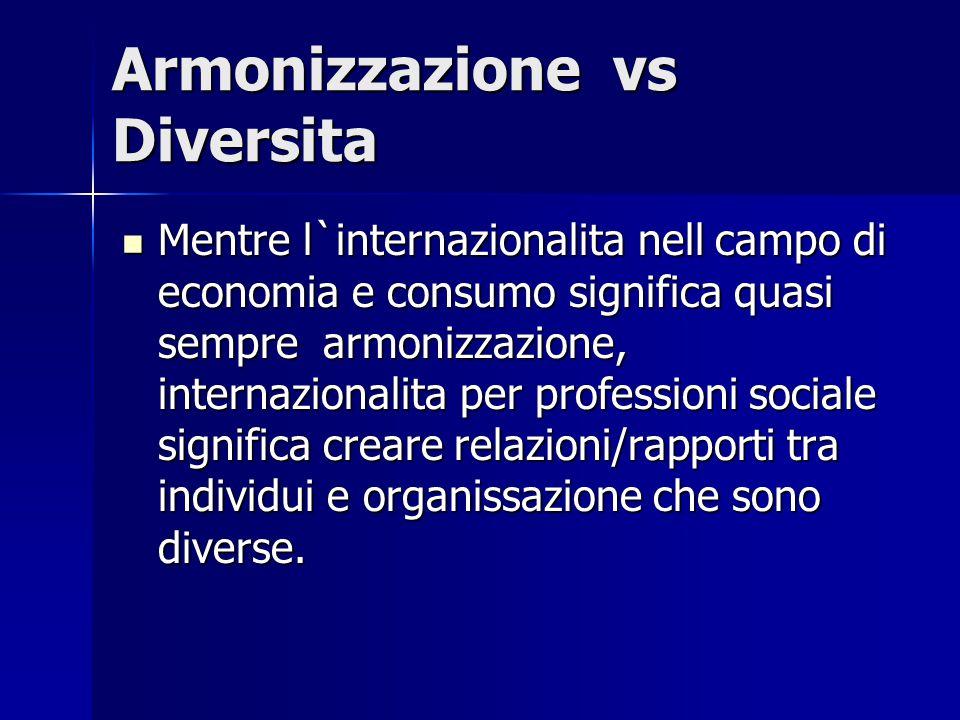 Armonizzazione vs Diversita Mentre l`internazionalita nell campo di economia e consumo significa quasi sempre armonizzazione, internazionalita per professioni sociale significa creare relazioni/rapporti tra individui e organissazione che sono diverse.