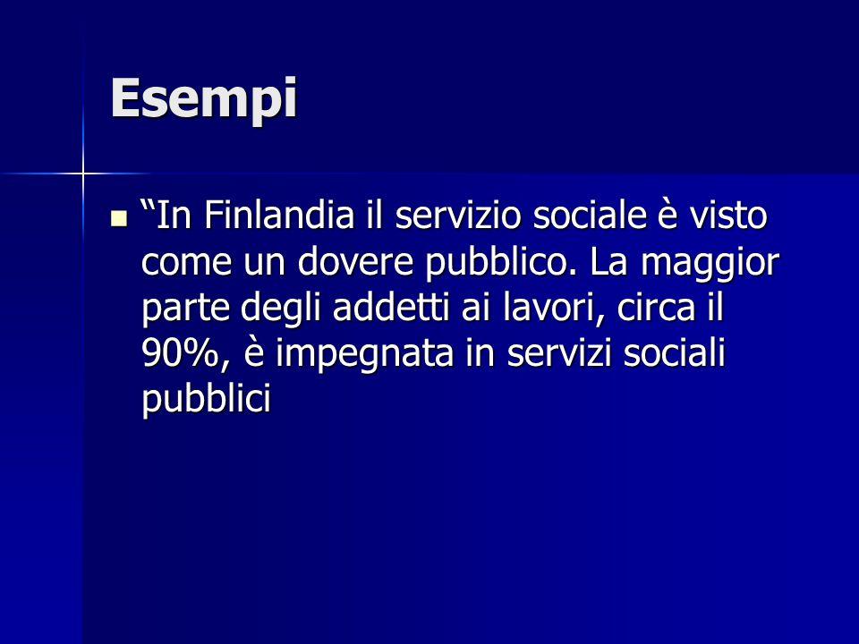 Esempi In Finlandia il servizio sociale è visto come un dovere pubblico.