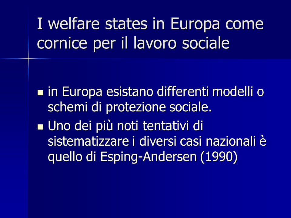 I welfare states in Europa come cornice per il lavoro sociale in Europa esistano differenti modelli o schemi di protezione sociale.