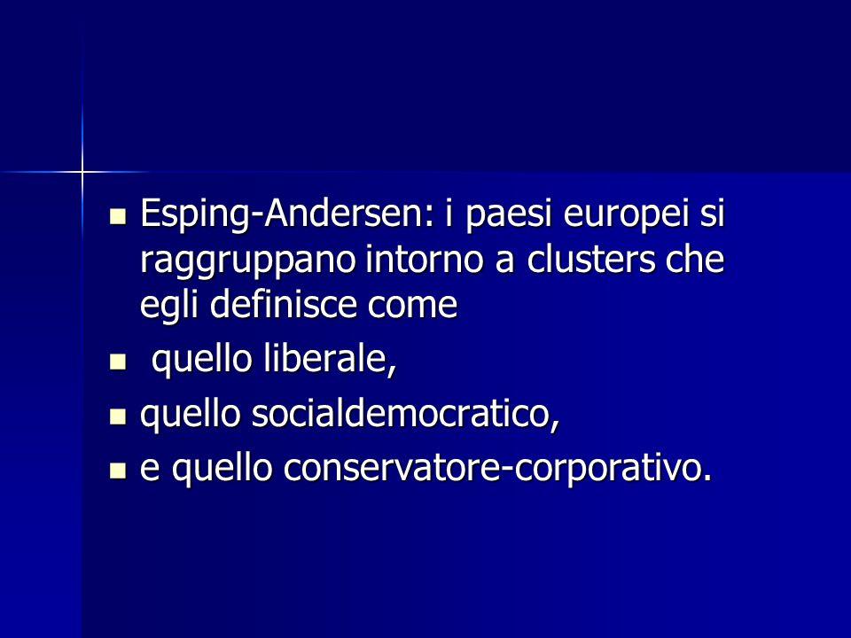 Esping-Andersen: i paesi europei si raggruppano intorno a clusters che egli definisce come Esping-Andersen: i paesi europei si raggruppano intorno a clusters che egli definisce come quello liberale, quello liberale, quello socialdemocratico, quello socialdemocratico, e quello conservatore-corporativo.