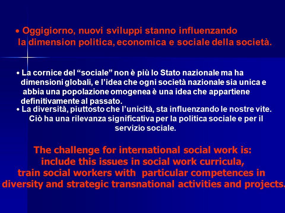  Oggigiorno, nuovi sviluppi stanno influenzando la dimension politica, economica e sociale della società.