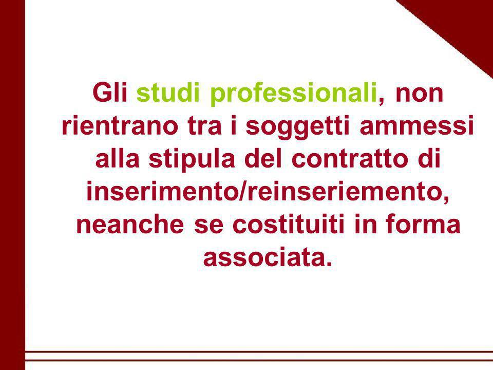 Gli studi professionali, non rientrano tra i soggetti ammessi alla stipula del contratto di inserimento/reinseriemento, neanche se costituiti in forma associata.