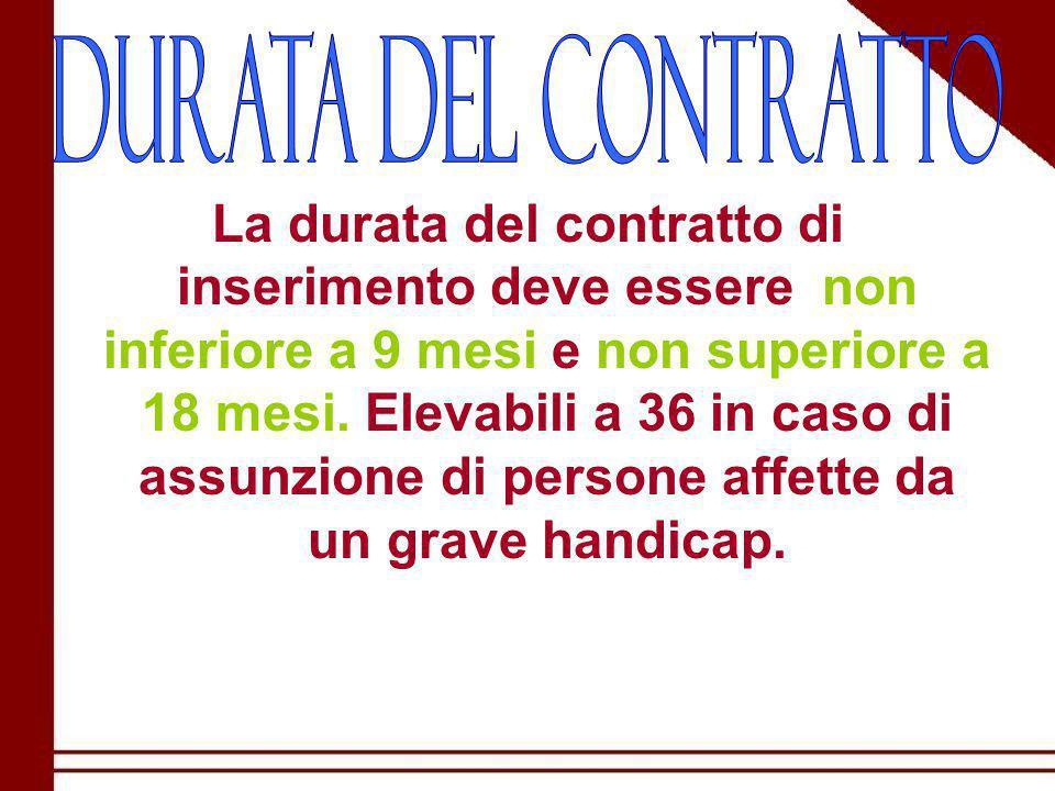 La durata del contratto di inserimento deve essere non inferiore a 9 mesi e non superiore a 18 mesi.