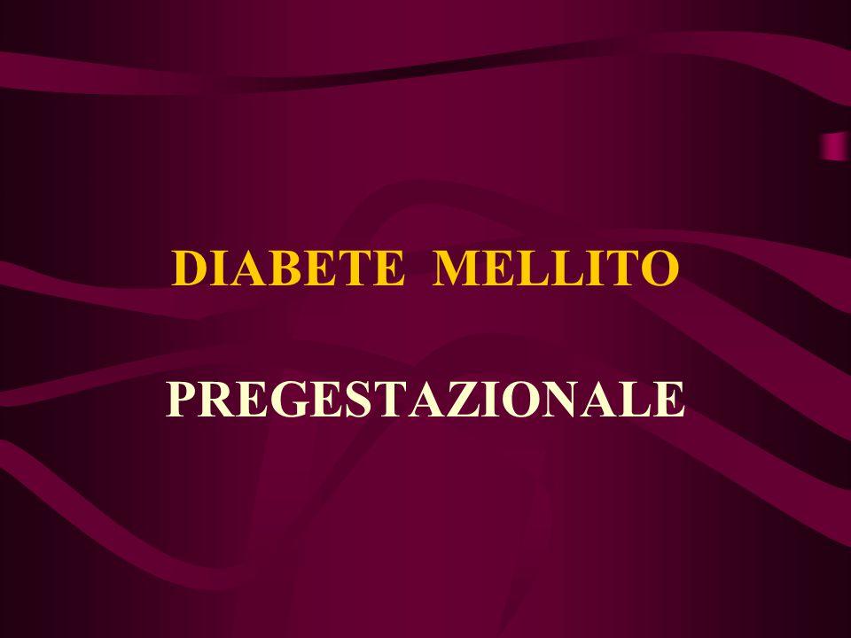 DIABETE MELLITO PREGESTAZIONALE DIABETE tipo 1 insulino-dipendente DIABETE tipo 2 non insulino-dipendente National Diabetes Data Group