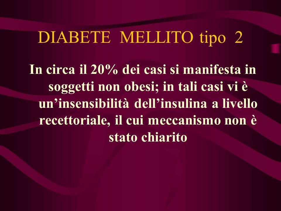 DIABETE MELLITO tipo 2 In circa il 20% dei casi si manifesta in soggetti non obesi; in tali casi vi è un'insensibilità dell'insulina a livello recetto