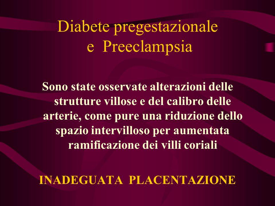 Diabete pregestazionale e Preeclampsia Sono state osservate alterazioni delle strutture villose e del calibro delle arterie, come pure una riduzione d
