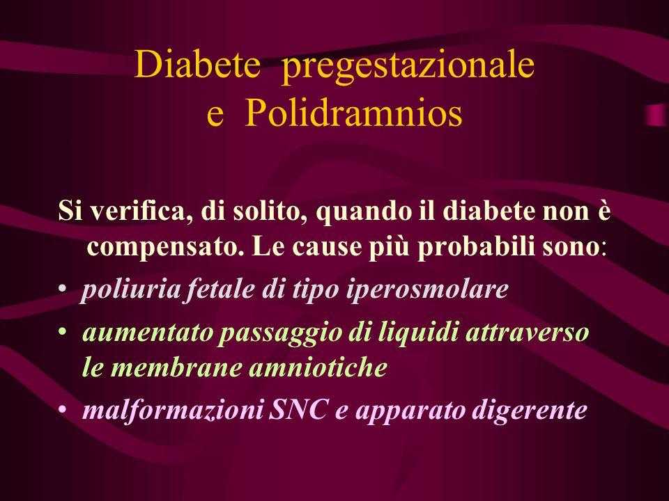 Diabete pregestazionale e Polidramnios Si verifica, di solito, quando il diabete non è compensato. Le cause più probabili sono: poliuria fetale di tip
