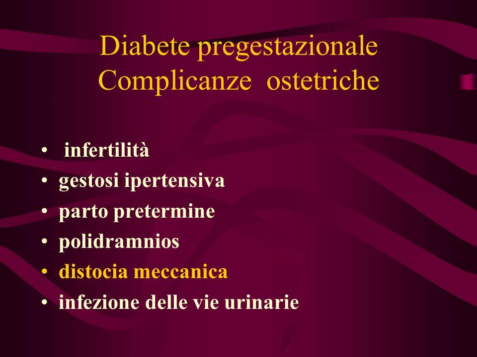 Diabete pregestazionale Complicanze ostetriche infertilità gestosi ipertensiva parto pretermine polidramnios distocia meccanica infezione delle vie ur