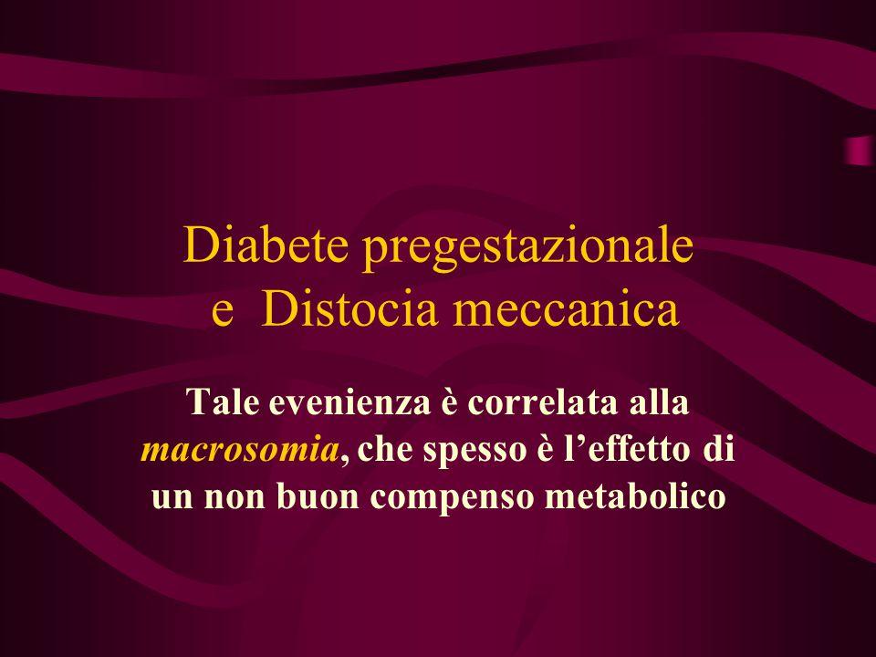 Diabete pregestazionale e Distocia meccanica Tale evenienza è correlata alla macrosomia, che spesso è l'effetto di un non buon compenso metabolico