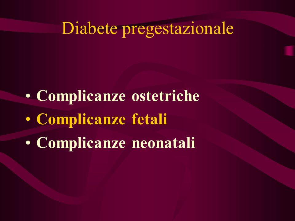 Diabete pregestazionale Complicanze ostetriche Complicanze fetali Complicanze neonatali