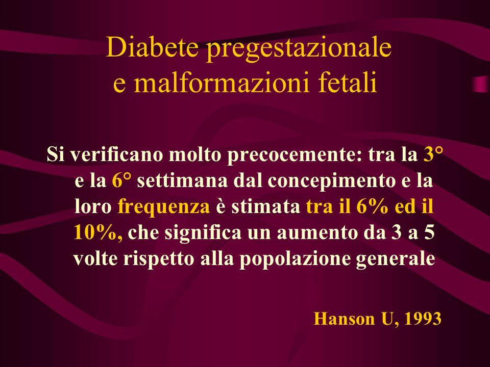Diabete pregestazionale e malformazioni fetali Si verificano molto precocemente: tra la 3° e la 6° settimana dal concepimento e la loro frequenza è st