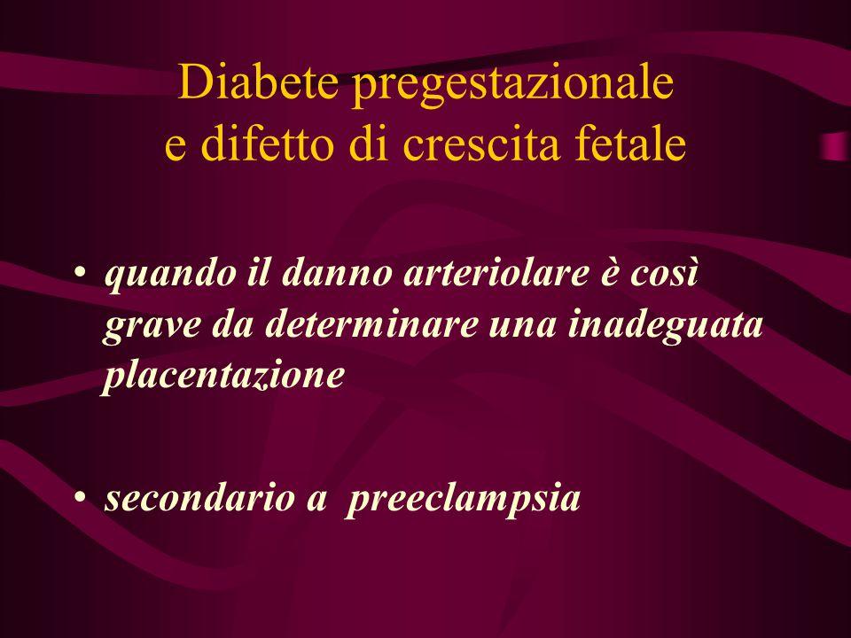 Diabete pregestazionale e difetto di crescita fetale quando il danno arteriolare è così grave da determinare una inadeguata placentazione secondario a