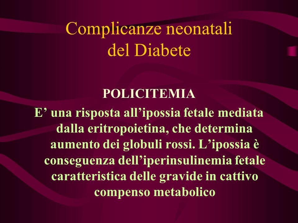 Complicanze neonatali del Diabete POLICITEMIA E' una risposta all'ipossia fetale mediata dalla eritropoietina, che determina aumento dei globuli rossi