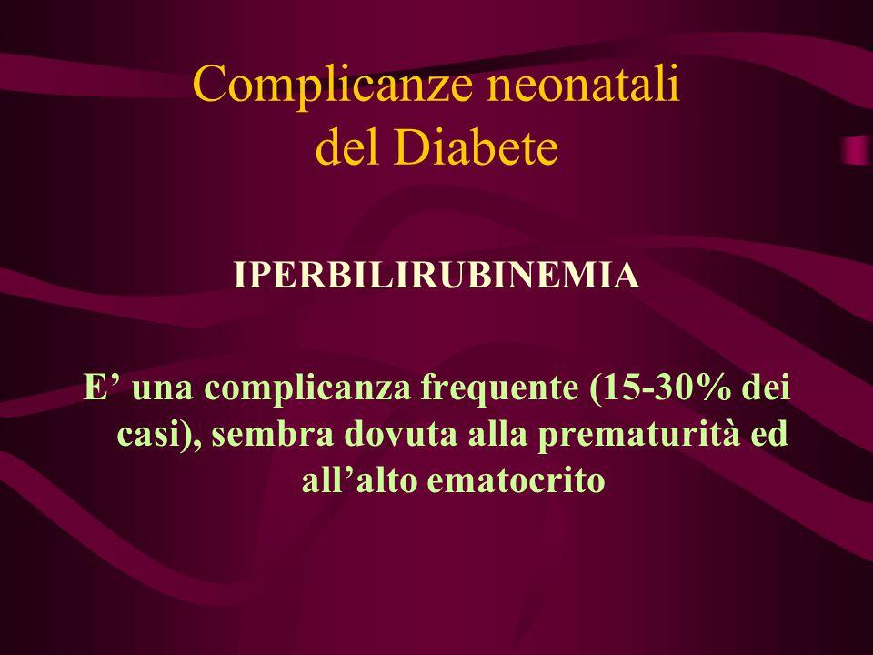 Complicanze neonatali del Diabete IPERBILIRUBINEMIA E' una complicanza frequente (15-30% dei casi), sembra dovuta alla prematurità ed all'alto ematocr