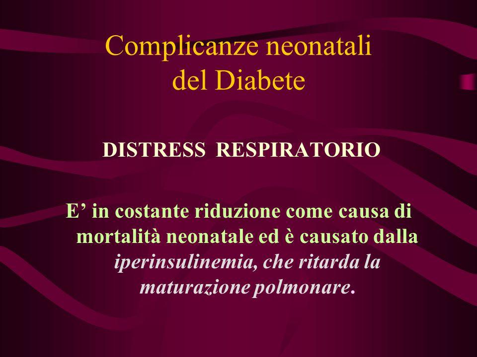 Complicanze neonatali del Diabete DISTRESS RESPIRATORIO E' in costante riduzione come causa di mortalità neonatale ed è causato dalla iperinsulinemia,