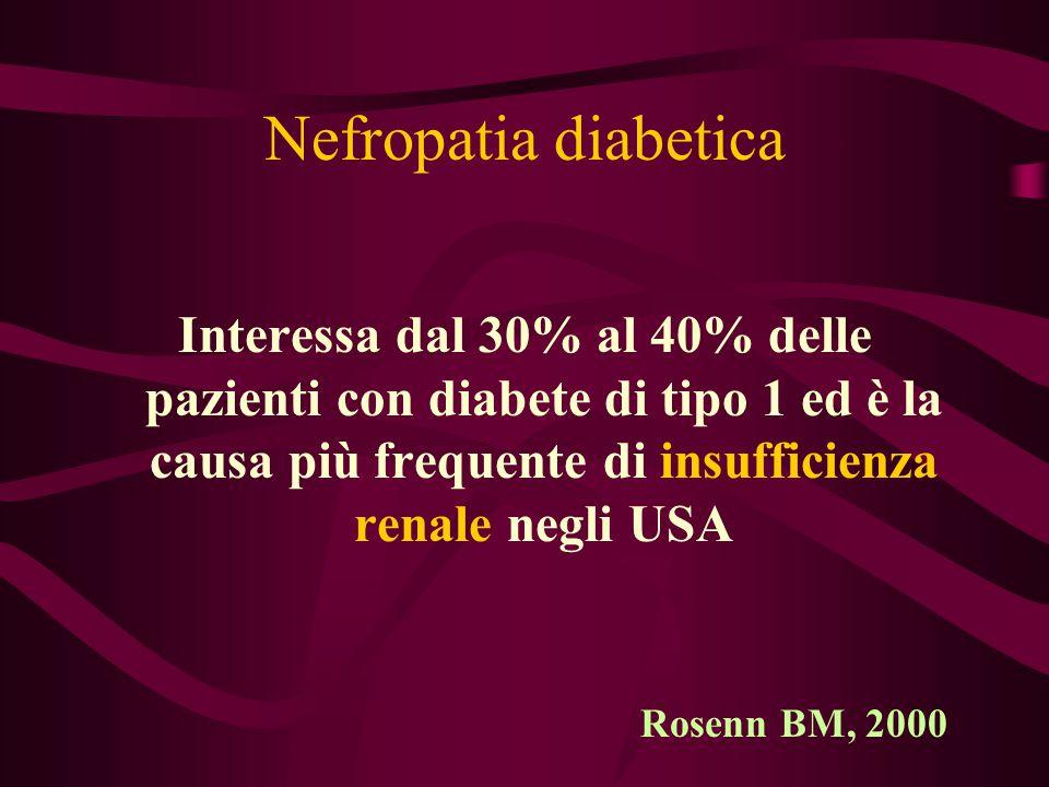 Nefropatia diabetica Interessa dal 30% al 40% delle pazienti con diabete di tipo 1 ed è la causa più frequente di insufficienza renale negli USA Rosen