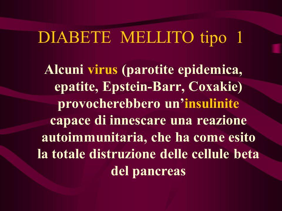 DIABETE MELLITO tipo 1 Alcuni virus (parotite epidemica, epatite, Epstein-Barr, Coxakie) provocherebbero un'insulinite capace di innescare una reazion