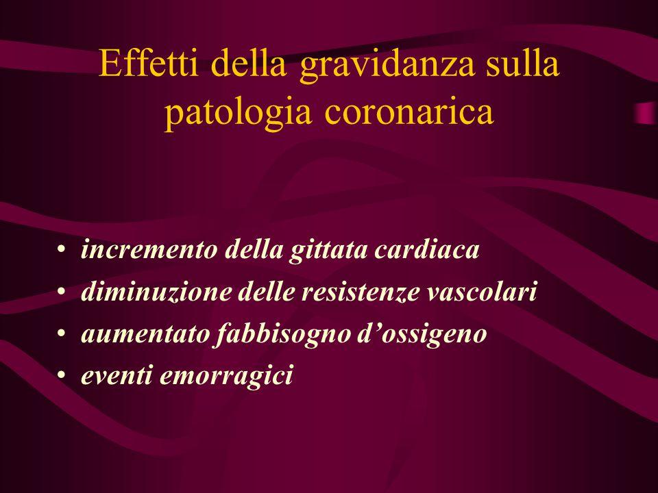 Effetti della gravidanza sulla patologia coronarica incremento della gittata cardiaca diminuzione delle resistenze vascolari aumentato fabbisogno d'os