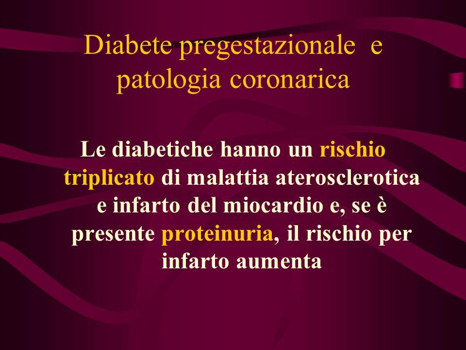 Diabete pregestazionale e patologia coronarica Le diabetiche hanno un rischio triplicato di malattia aterosclerotica e infarto del miocardio e, se è p