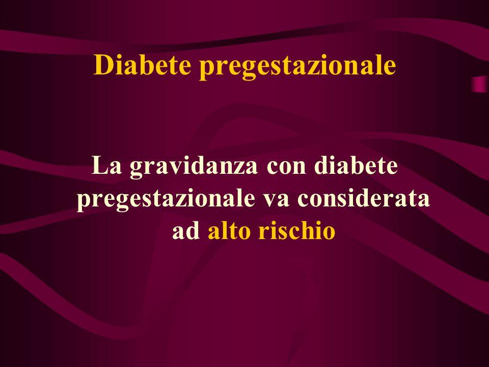 Diabete pregestazionale La gravidanza con diabete pregestazionale va considerata ad alto rischio