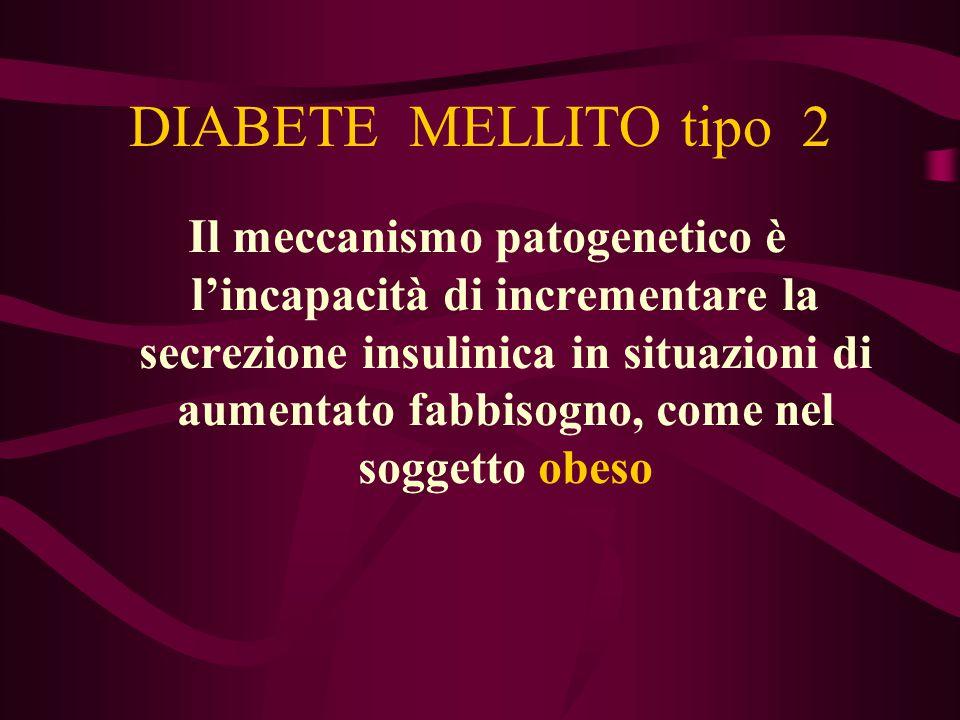 DIABETE MELLITO tipo 2 Nel soggetto obeso, la penetrazione del glucosio negli adipociti avviene in misura minore del normale, provocando iperglicemia e di conseguenza iperinsulinemia