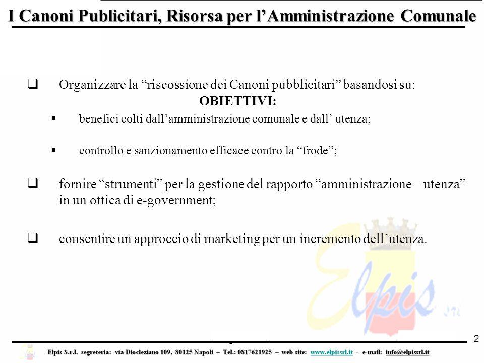 """Luglio 2006 I Canoni Publicitari, Risorsa per l'Amministrazione Comunale  Organizzare la """"riscossione dei Canoni pubblicitari"""" basandosi su:  benefi"""