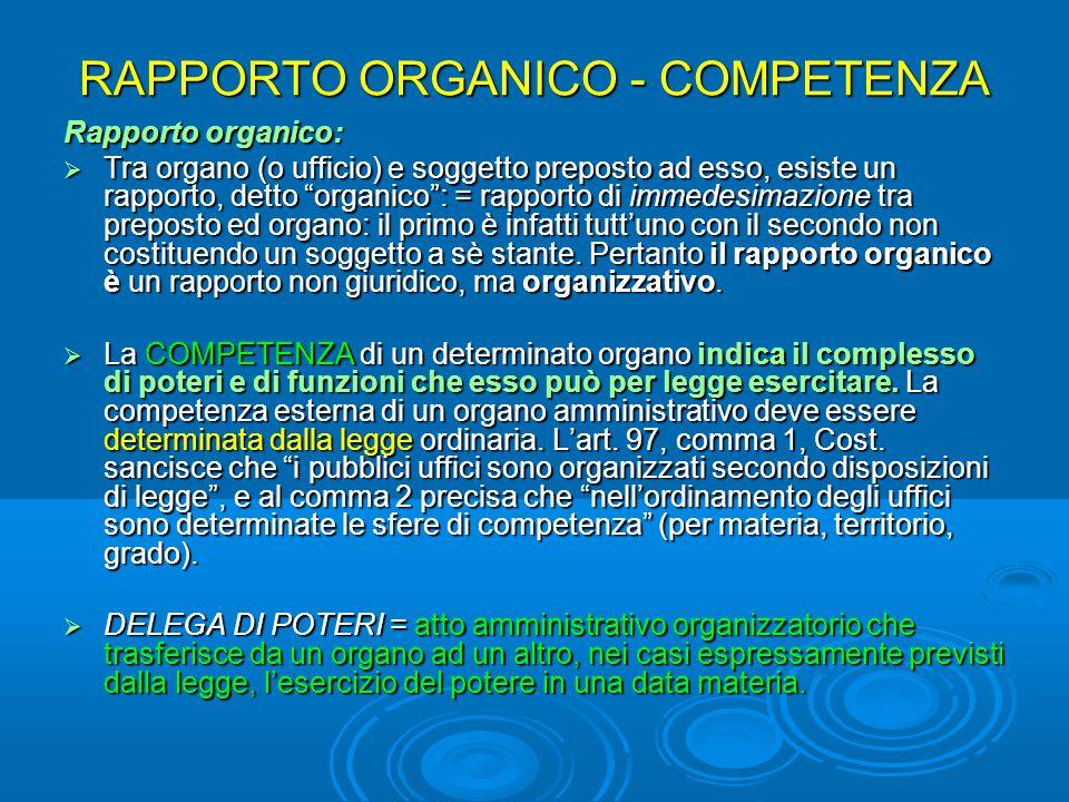 """RAPPORTO ORGANICO - COMPETENZA Rapporto organico:  Tra organo (o ufficio) e soggetto preposto ad esso, esiste un rapporto, detto """"organico"""": = rappor"""