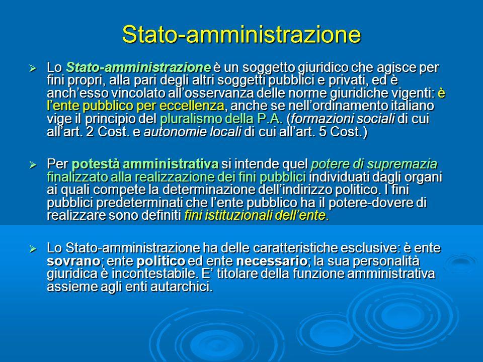 Stato-amministrazione  Lo Stato-amministrazione è un soggetto giuridico che agisce per fini propri, alla pari degli altri soggetti pubblici e privati, ed è anch'esso vincolato all'osservanza delle norme giuridiche vigenti: è l'ente pubblico per eccellenza, anche se nell'ordinamento italiano vige il principio del pluralismo della P.A.
